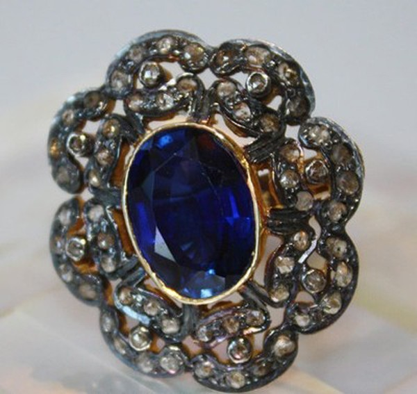 Vintage Wedding Ring 1.28 Rose Cut Natural Certified Diamond Blue Sapphire 925 Sterling Silver Workwear