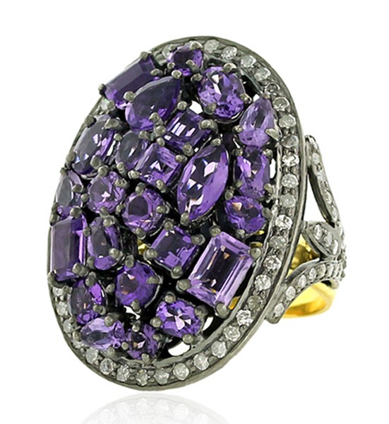 Vintage Art Deco Rings 1.2 Rose Cut Natural Certified Diamond Amethyst 925 Sterling Silver Workwear