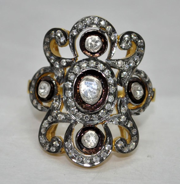 Victorian Rings 1.5 Rose Cut Natural Certified Diamond 925 Sterling Silver Festive