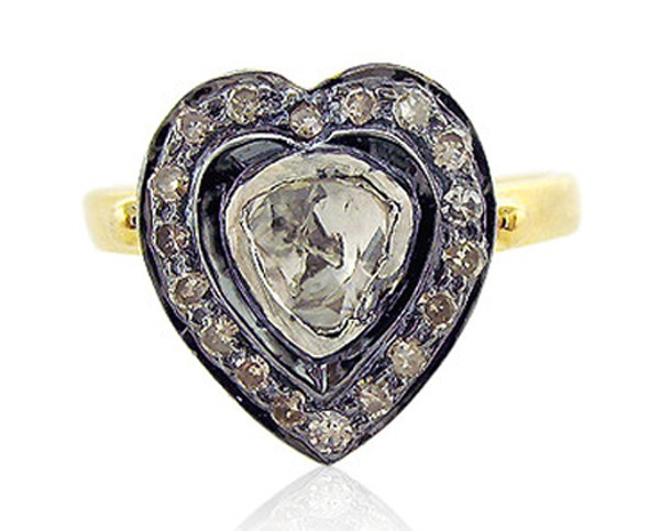 Art Deco Style Engagement Rings 0.55 Rose Cut Natural Certified Diamond 925 Sterling Silver Office Wear