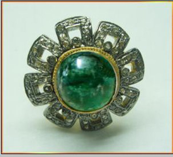 Victorian Rings For Sale 1.02 Rose Cut Natural Certified Diamond Emerald 925 Sterling Silver Wedding