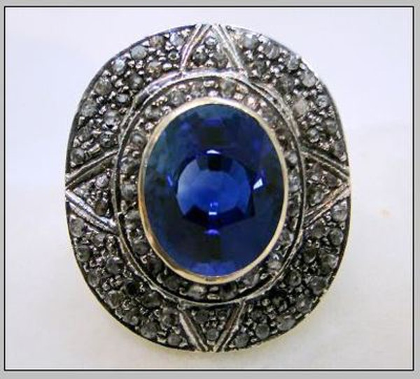 Vintage Style Wedding Rings 1.2 Rose Cut Natural Certified Diamond Blue Sapphire 925 Sterling Silver Special Occasion