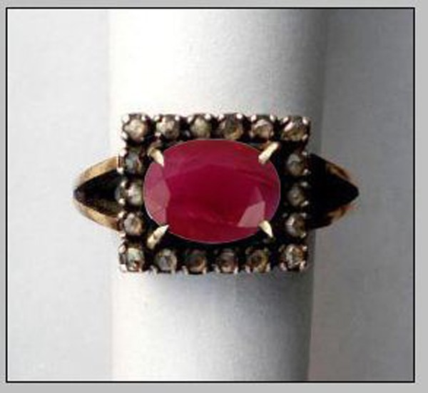 Victorian Rings For Sale 0.3 Rose Cut Natural Certified Diamond Ruby 925 Sterling Silver Wedding