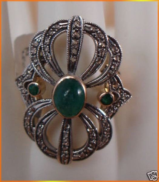Victorian Rings 0.84 Rose Cut Natural Certified Diamond Emerald 925 Sterling Silver Festive