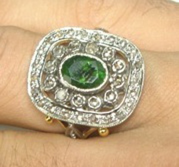Victorian Engagement Rings 0.76 Rose Cut Natural Certified Diamond Emerald 925 Sterling Silver Weekend