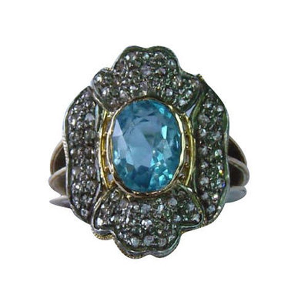 Antique Style Rings 0.9 Rose Cut Natural Certified Diamond Sapphire 925 Sterling Silver Festive