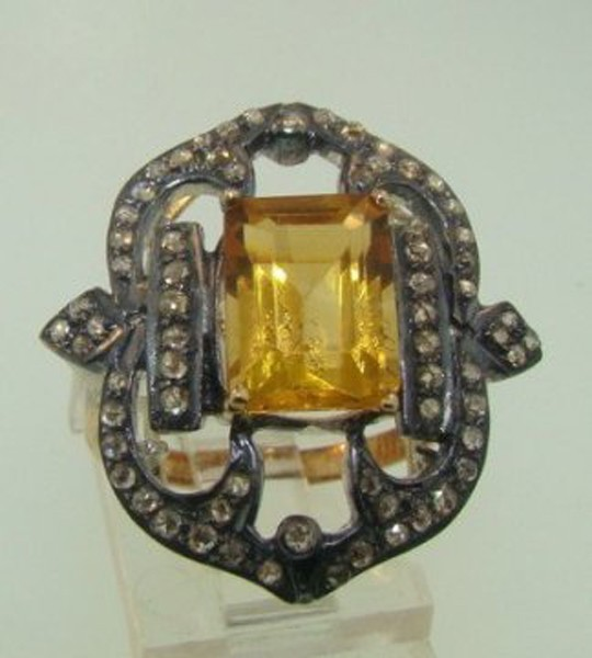 Victorian Rings For Sale 1.05 Rose Cut Natural Certified Diamond Golden Topaz 925 Sterling Silver Wedding