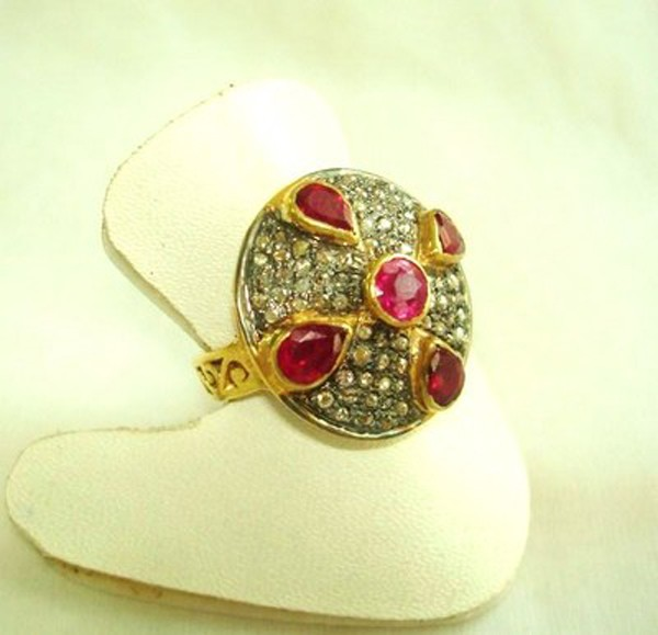 Vintage Inspired Wedding Rings 0.96 Rose Cut Natural Certified Diamond Ruby 925 Sterling Silver Special Occasion