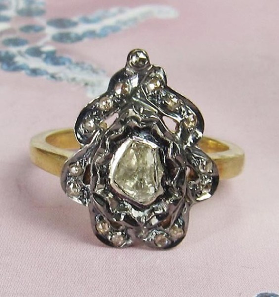Victorian Rings 0.42 Rose Cut Natural Certified Diamond 925 Sterling Silver Festive