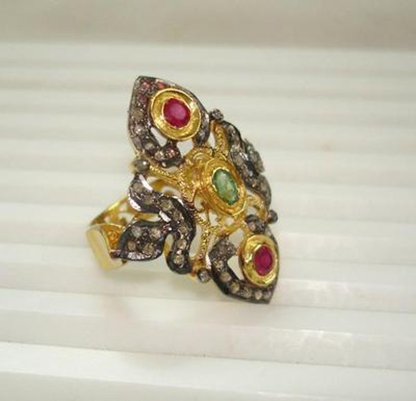 Vintage Wedding Ring 0.75 Rose Cut Natural Certified Diamond Ruby Emerald 925 Sterling Silver Workwear
