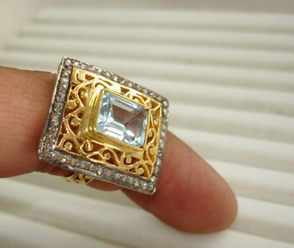 Vintage Art Deco Engagement Rings 0.6 Rose Cut Natural Certified Diamond Topaz 925 Sterling Silver Anniversary