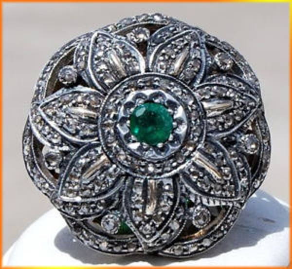 Antique Looking Engagement Rings 1.92 Rose Cut Natural Certified Diamond Emerald 925 Sterling Silver Office Wear