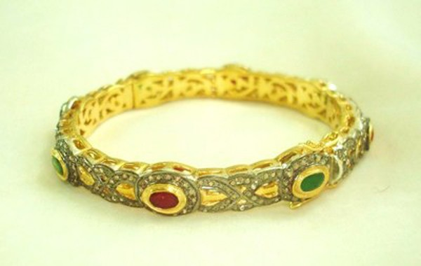 Vintage Wedding Ring 6 Rose Cut Natural Certified Diamond Emerald Ruby 925 Sterling Silver Workwear