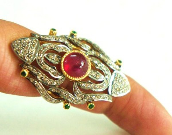 Victorian Wedding Rings 0.9 Rose Cut Natural Certified Diamond Emerald Ruby 925 Sterling Silver Vacation