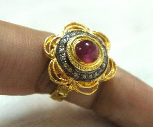 Antique Wedding Ring 0.4 Rose Cut Natural Certified Diamond Ruby 925 Sterling Silver Engagement