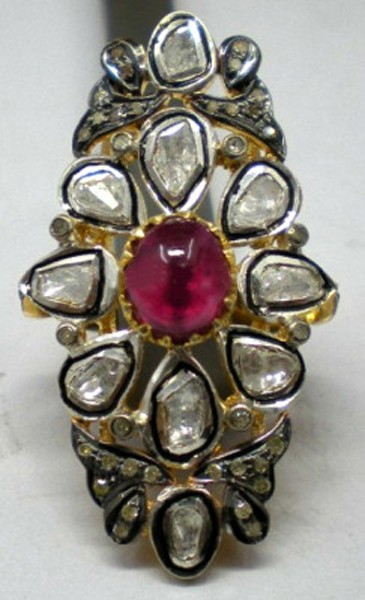 Vintage Engagement Rings For Sale 1.18 Rose Cut Natural Certified Diamond Ruby 925 Sterling Silver Everyday