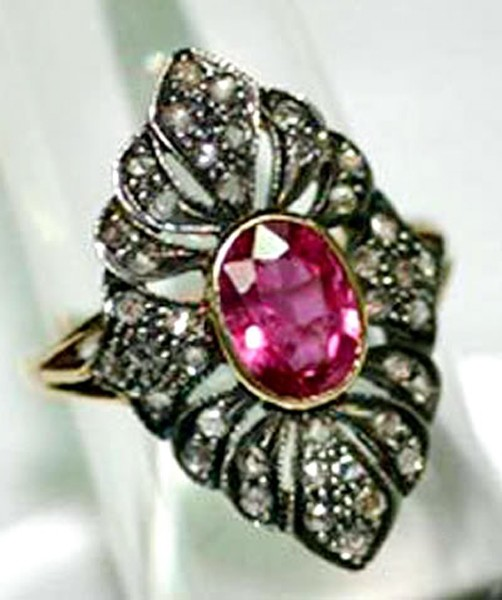 Vintage Art Deco Engagement Rings 1.32 Rose Cut Natural Certified Diamond Ruby 925 Sterling Silver Anniversary