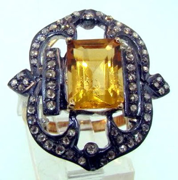 Vintage Victorian Engagement Rings 1.2 Rose Cut Natural Certified Diamond Golden Topaz 925 Sterling Silver Party