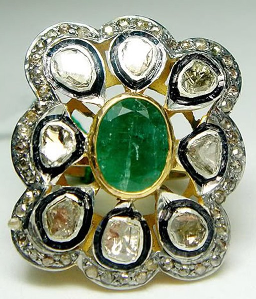 Antique Style Engagement Rings 2.45 Rose Cut Natural Certified Diamond Emerald 925 Sterling Silver Party