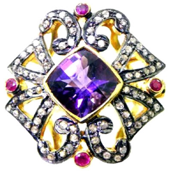 Vintage Wedding Ring 1.85 Rose Cut Natural Certified Diamond Amethyst Ruby 925 Sterling Silver Workwear