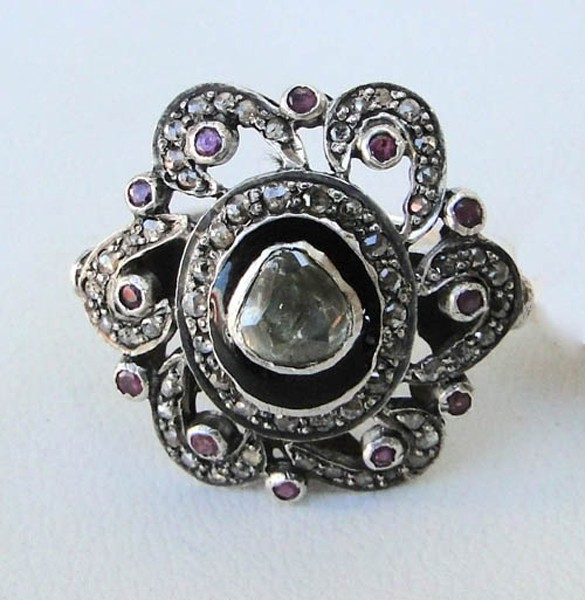 Antique Wedding Ring 1.55 Rose Cut Natural Certified Diamond Ruby 925 Sterling Silver Engagement