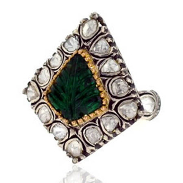 Victorian Diamond Ring 1 Rose Cut Natural Certified Diamond Emerald 925 Sterling Silver Wedding