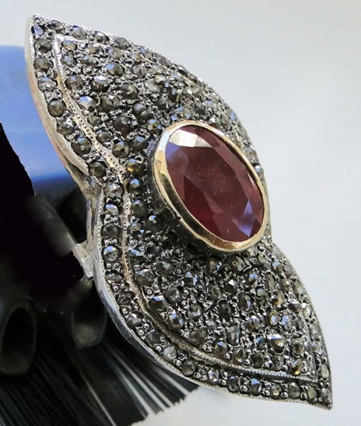 Vintage Art Deco Rings 1.8 Rose Cut Natural Certified Diamond Ruby 925 Sterling Silver Workwear