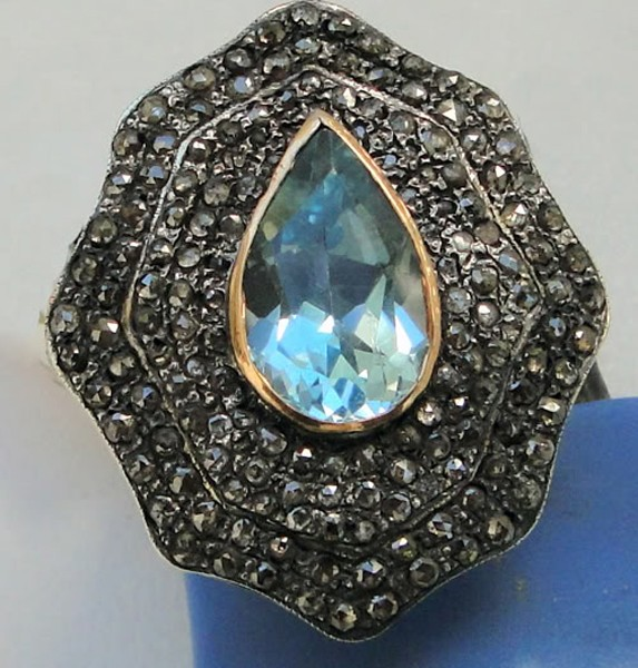 Antique Looking Wedding Rings 2.1 Rose Cut Natural Certified Diamond Blue Topaz 925 Sterling Silver Everyday