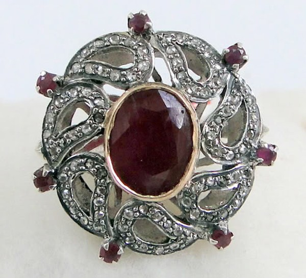 Antique Looking Engagement Rings 2.4 Rose Cut Natural Certified Diamond Ruby 925 Sterling Silver Office Wear