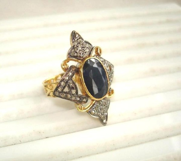 Victorian Rings 1.48 Rose Cut Natural Certified Diamond Sapphire 925 Sterling Silver Festive