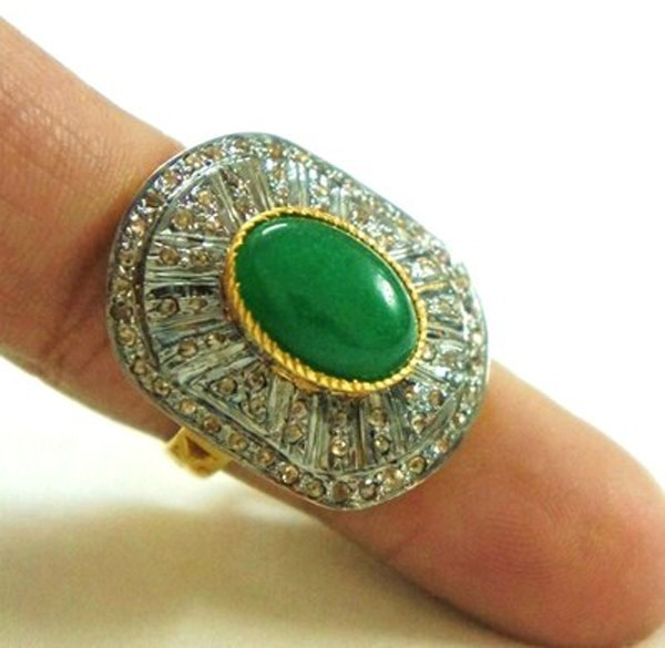 Antique Diamond Engagement Rings 1.5 Rose Cut Natural Certified Diamond Emerald 925 Sterling Silver Office Wear