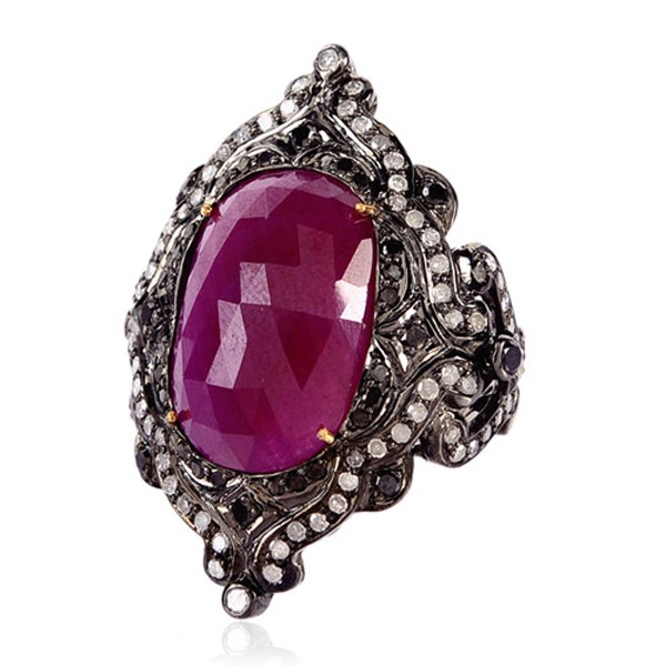 Victorian Antique Engagement Rings 1.95 Rose Cut Natural Certified Diamond Ruby 925 Sterling Silver Weekend