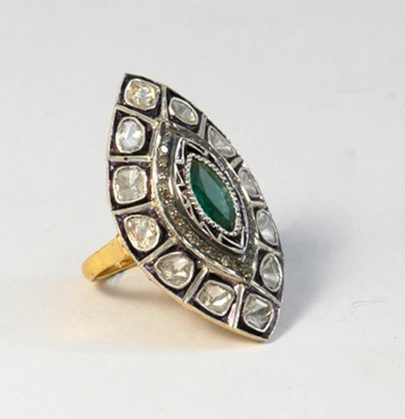 Antique Looking Engagement Rings 1.05 Rose Cut Natural Certified Diamond Emerald 925 Sterling Silver Office Wear