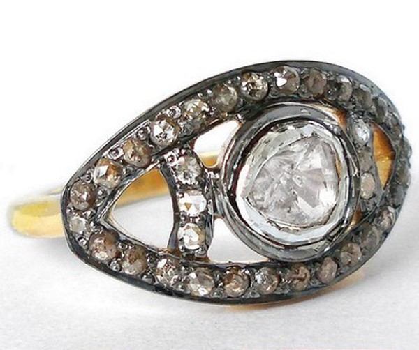 Vintage Wedding Ring 1.45 Rose Cut Natural Certified Diamond 925 Sterling Silver Workwear