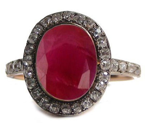 Vintage Diamond Engagement Rings 0.8 Rose Cut Natural Certified Diamond Ruby 925 Sterling Silver Everyday