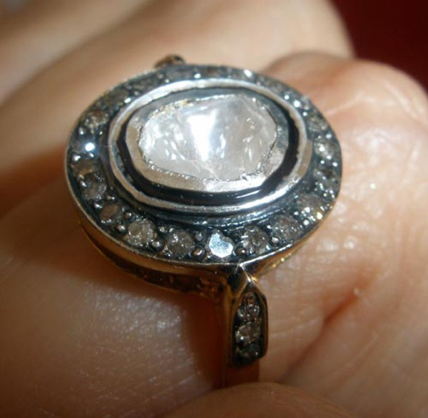 Victorian Diamond Ring 1.31 Rose Cut Natural Certified Diamond 925 Sterling Silver Wedding