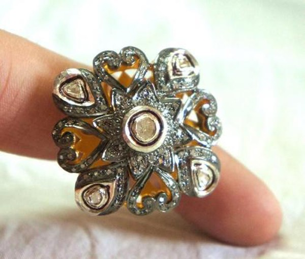Victorian Style Rings 1.45 Rose Cut Natural Certified Diamond 925 Sterling Silver Special Occasion