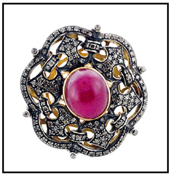 Victorian Style Wedding Rings 1.65 Rose Cut Natural Certified Diamond Ruby 925 Sterling Silver Anniversary