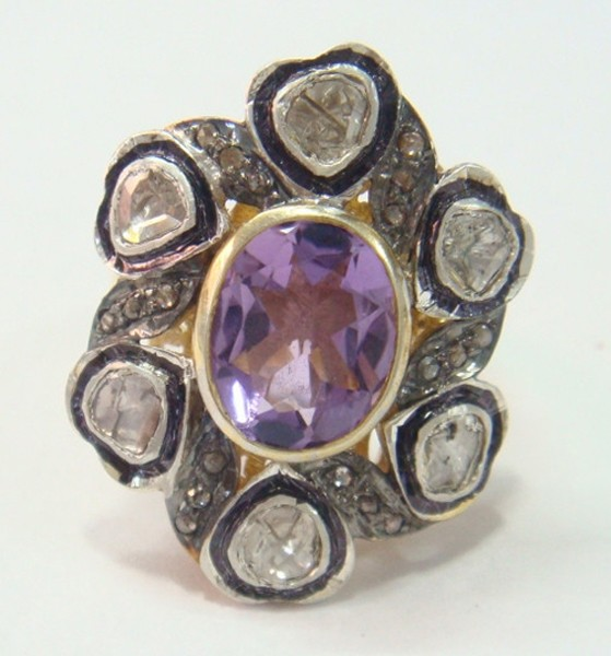 Antique Style Engagement Rings 1.2 Rose Cut Natural Certified Diamond Amethyst 925 Sterling Silver Party