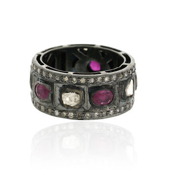 Victorian Style Rings 2.2 Rose Cut Natural Certified Diamond Ruby 925 Sterling Silver Special Occasion