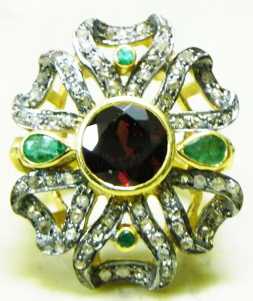 Victorian Rings For Sale 1.8 Rose Cut Natural Certified Diamond Ruby Emerald 925 Sterling Silver Wedding