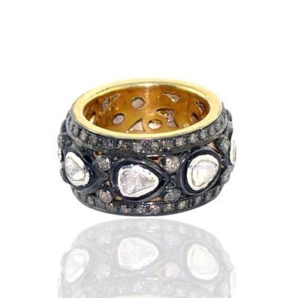 Antique Looking Engagement Rings 1.5 Rose Cut Natural Certified Diamond 925 Sterling Silver Office Wear