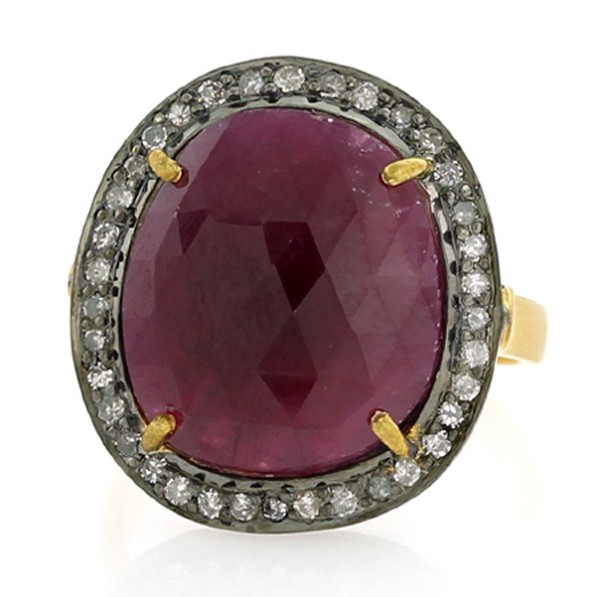 Art Deco Style Engagement Rings 1 Rose Cut Natural Certified Diamond Ruby 925 Sterling Silver Office Wear