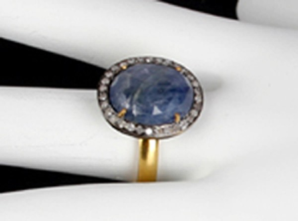 Polki Rings 0.6 Rose Cut Natural Certified Diamond Sapphire 925 Sterling Silver Anniversary