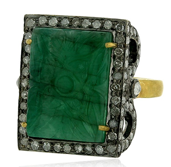 Victorian Rings 2.08 Rose Cut Natural Certified Diamond Emerald 925 Sterling Silver Festive