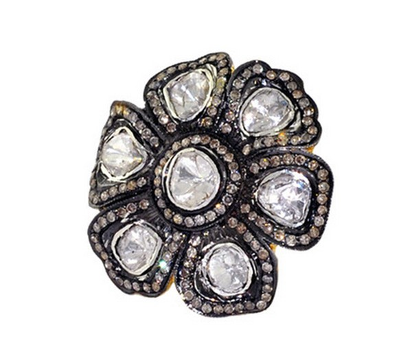 Victorian Rings For Sale 3.74 Rose Cut Natural Certified Diamond 925 Sterling Silver Wedding