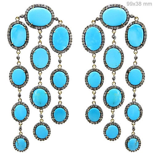 Art Deco Earrings 7 Ct Natural Certified Diamond Turquoise 925 Sterling Silver Jewelry Weekend