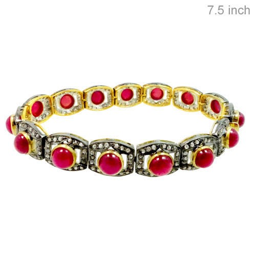 Antique Diamond Tennis Bracelet 4 Ct Natural Certified Diamond Ruby 925 Sterling Silver Engagement