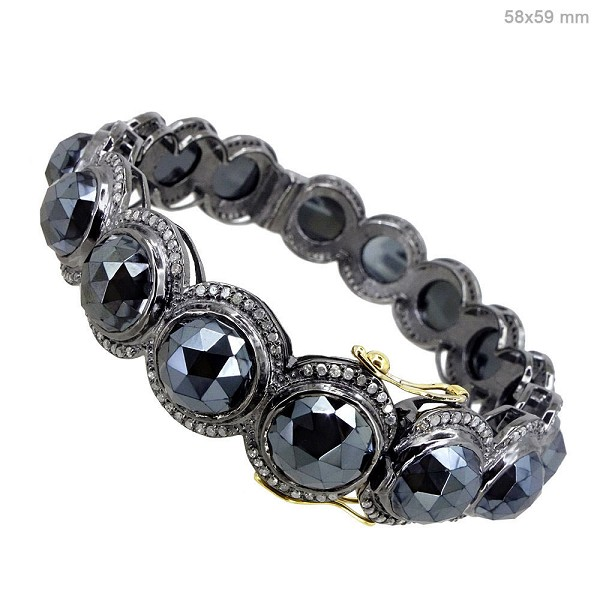 Victorian Bracelet 5.5 Ct Natural Certified Diamond Black Spinel 925 Sterling Silver Weekend