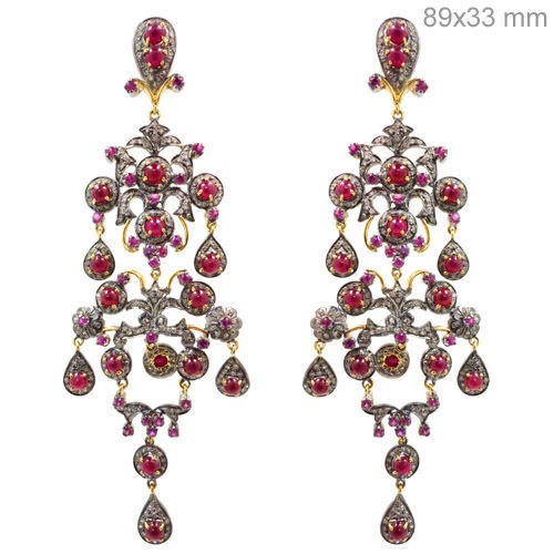 Antique Drop Earrings 3.26 Ct Natural Certified Diamond Ruby 925 Sterling Silver Vacation